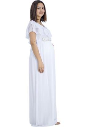 Entarim Baby Shower Şifon Elbise 6019Beyaz