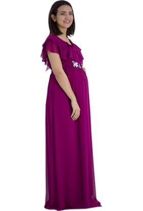 Entarim Baby Shower Şifon Elbise 6019Fuşya