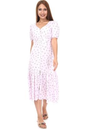 Hot Fashion Çiçek Desenli Maxi Boy Elbise