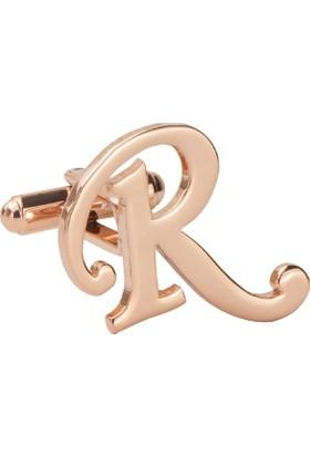 Fix Silver R Harfi Rose Gold Çelik Kol Düğmesi