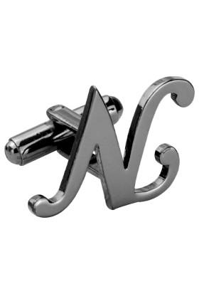 Fix Silver N Harfi Siyah Rodyum Çelik Kol Düğmesi