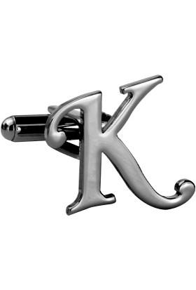 Fix Silver K Harfi Siyah Rodyum Çelik Kol Düğmesi