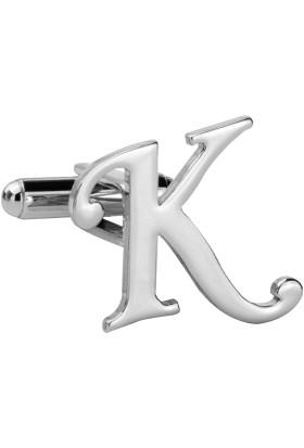 Fix Silver K Harfi Rodyum Çelik Kol Düğmesi