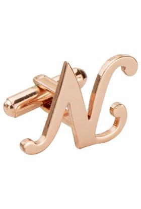 Fix Silver N Harfi Rose Gold Çelik Kol Düğmesi