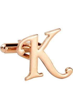 Fix Silver K Harfi Rose Gold Çelik Kol Düğmesi