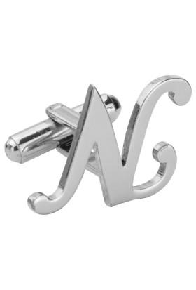 Fix Silver N Harfi Rodyum Çelik Kol Düğmesi