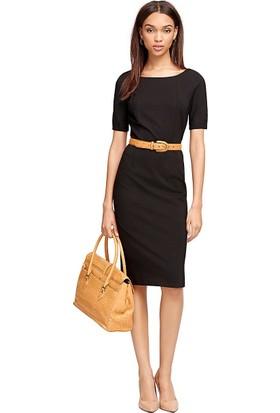 Brooks Brothers Kadın Siyah Yarım Kollu Kayık Yaka Kalem Elbise