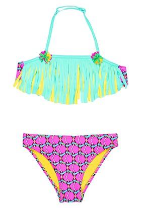 Bonesta Swimwear Üç Boyutlu Çiçek Desenli Kız Çocuk Bikini