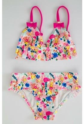 Penti Çok Renkli Kız Çocuk Pattern Flower Üçgen Bikini Takımı