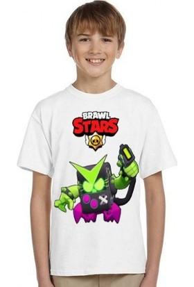 TakeTshirt Brawl Stars Virüs 8 Bit Çocuk T-Shirt Beyaz