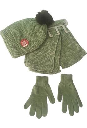 Kitti Örgü Çocuk 3lü Atkı&bere&eldiven Takım Yeşil 9-12 Yaş