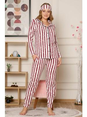 Akbeniz Kadın Pamuklu Düğmeli Cepli Şardonlu Uzun Kol Pijama Takım 2493
