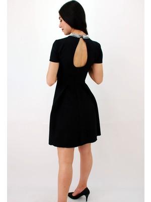 Elifim Moda Tasarım Inci Yakalı Kısa Kol Siyah Mini Elbise