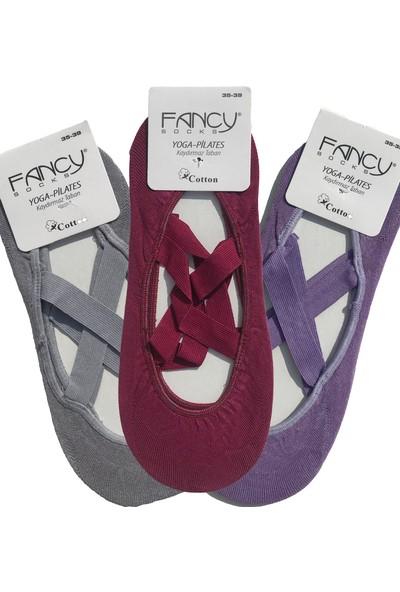 Fancy 3'Lü Paket Kaydırmaz Kadın Dans Pilates ve Yoga Çorabı