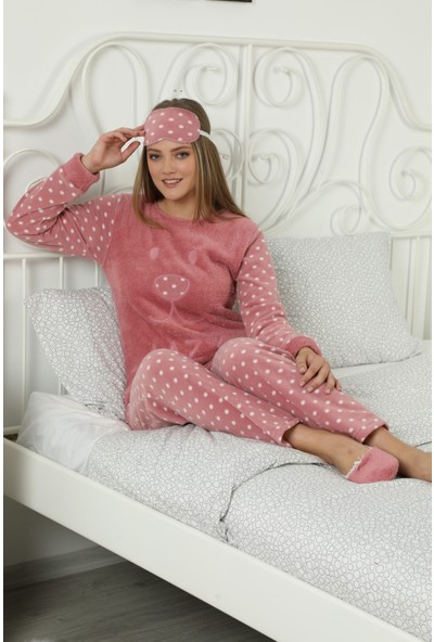 Pijama Evi Pembe Lazy Desenli Kadın Peluş Pijama Takımı XL