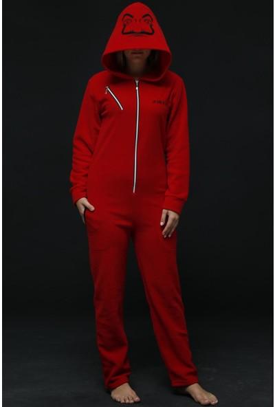 Pijama Evi Kırmızı Kadın Polar Peluş Tulum Pijama Takımı M