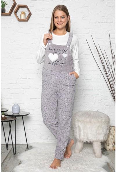 Pijama Evi Beautiful Desenli Kadın Polar Peluş Tulum Pijama Takımı XL