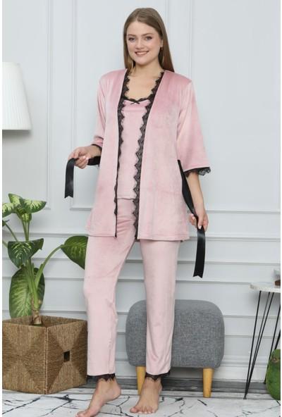 Pijama Evi Pudra Dantel Detaylı Fransız Kadife Sabahlıklı Kadın Pijama Takımı L