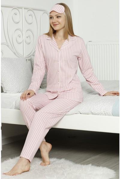 Pijama Evi Pembe Çizgili Önden Düğmeli Uzun Kollu Pijama Takımı S