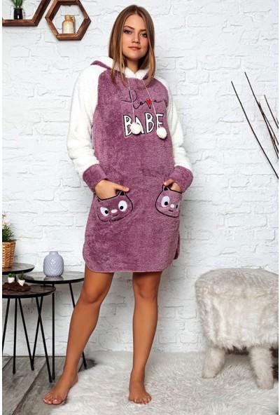 Pijama Evi Love Babe Desenli Kapşonlu Peluş Polar Kadın Gecelik XL