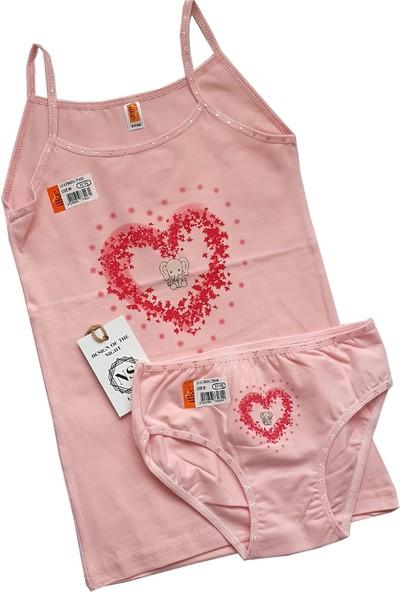 Ilke Underwear Kız Çocuk Likralı-Baskılı-Dantelli Atlet Külot TAKIM-3334