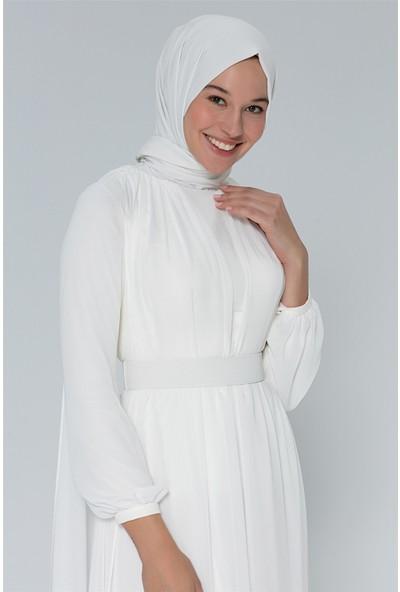 Armine Şifon Detaylı Abiye Elbise Ekru 20Y9800