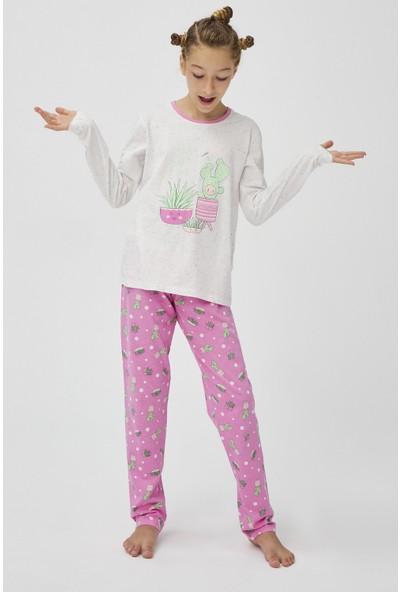 Penti Beyaz - Pembe Teen Cute Land 2li Pijama Takımı