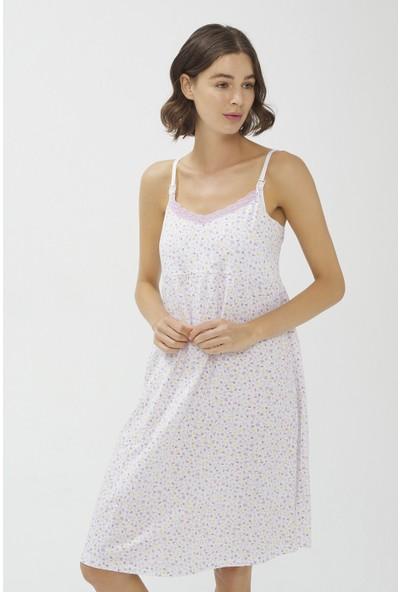 Penti Optik Beyaz Lilac Ditsy Mommy Emzirme Elbisesi