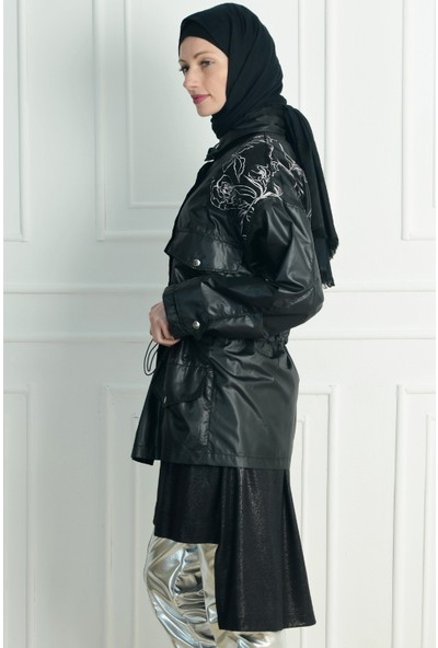 Nc Design Kadın Siyah Trençkot