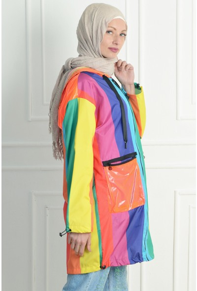 Nc Design Kadın Renkli Trençkot