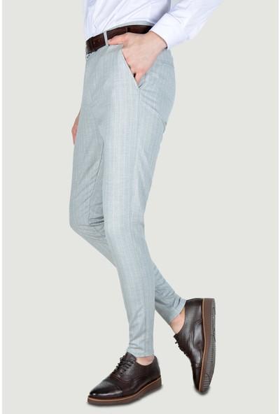 Terapi Men Erkek Çizgi Desenli Slim Fit Keten Pantolon 20Y-2200268 Gri