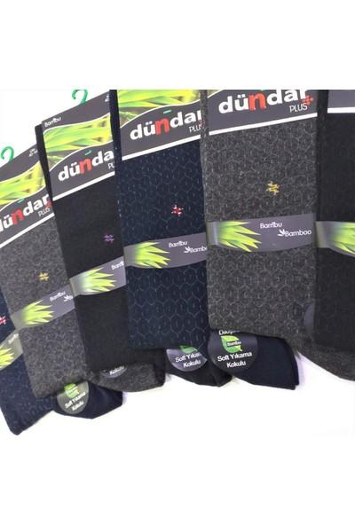 Dündar Plus 6'lı Dikişsiz Kokulu Erkek Bambu Desenli Çorap