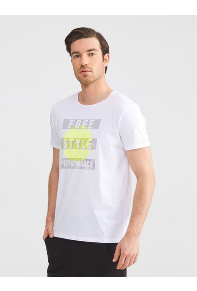 Xint Bisiklet Yaka Pamuklu Slim Fit Baskılı T-Shirt