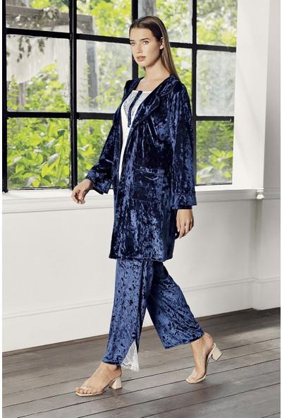 Artış Collection Kadın Kadife 3'lü Sabahlık Pijama Takım