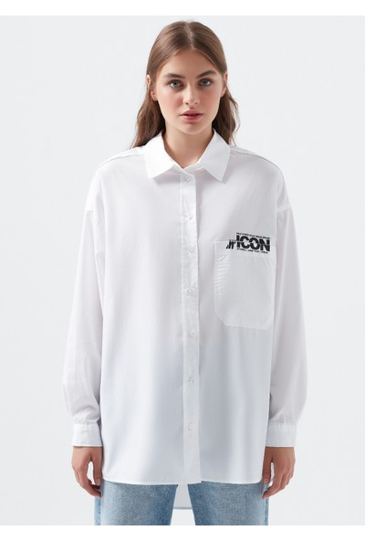Mavi Icon Baskılı Beyaz Gömlek 122653-620