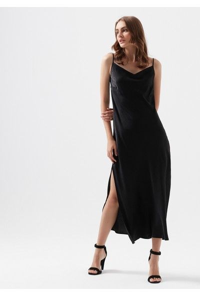 Askılı Siyah Uzun Elbise 130982-900