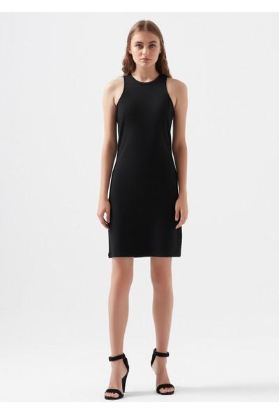 Mavi Kadın Icon Baskılı Halter Yaka Siyah Elbise 1600229-900