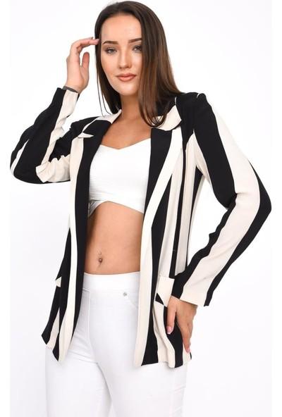 Modkofoni Uzun Kollu,klasik Yaka,cep Detaylı,beyaz Çizgili Siyah Ceket