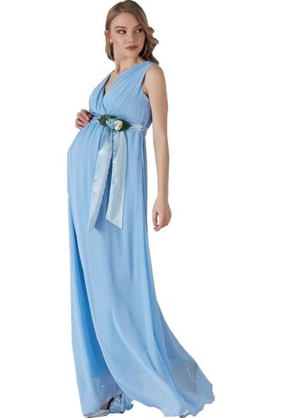 Entarim Hamile Şifon Elbise 2604Mavi