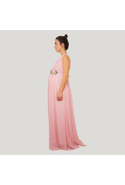 Entarim Hamile Şifon Elbise 2604Pudra