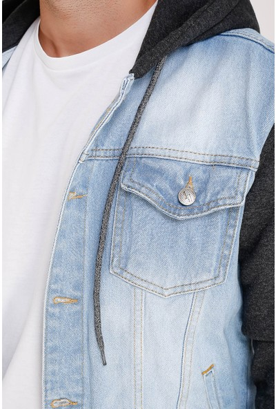 Lee Jones Denim Buz Mavisi Kapüşonlu Kot Ceket