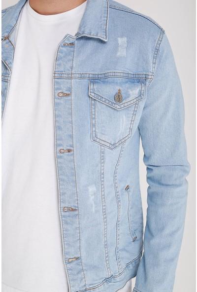Lee Jones Denim Eskitme Buz Mavisi Kot Ceket