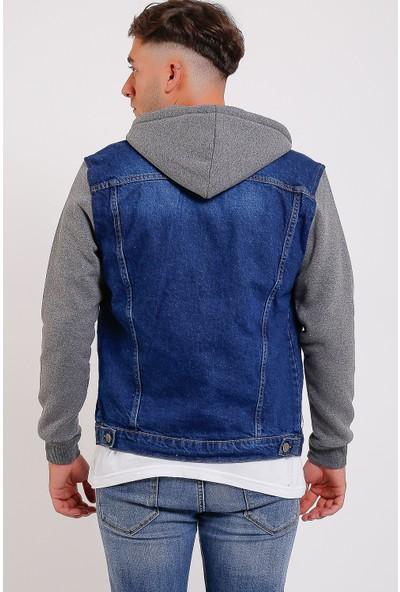 Lee Jones Denim Mavi Kapüşonlu Kot Ceket