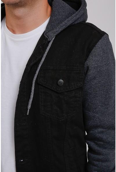 Lee Jones Denim Siyah Kapüşonlu Kot Ceket