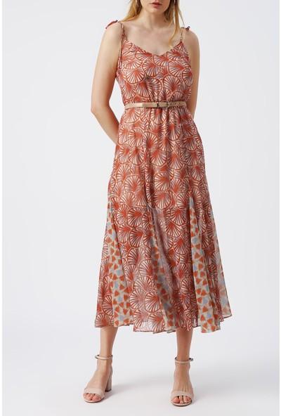 Random Kadın Ince Askılı Desenli Elbise