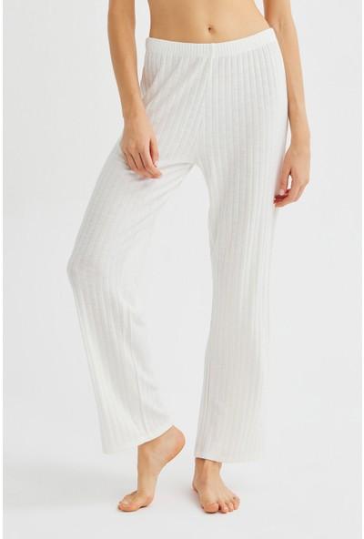 Penti Beyaz Soft Rib Pantolon