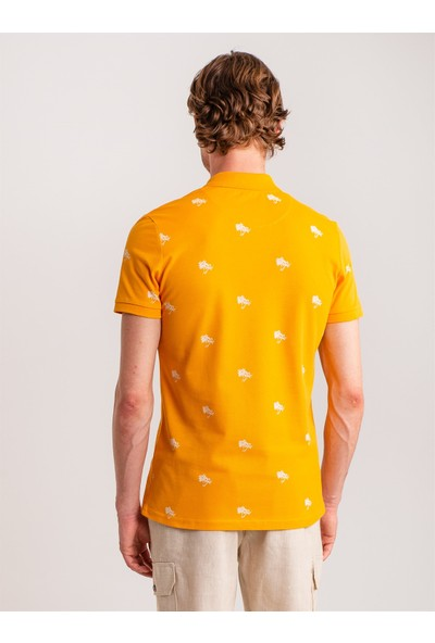 Dufy Safran Palmiye Baskılı Pamuklu Polo Yaka Erkek T-Shirt - Regular Fit