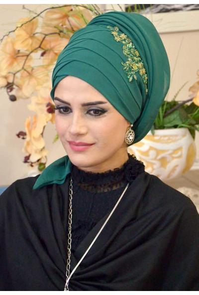 Aişe Tesettür Osmanlı Yeşili Drapeli Bandana Şal