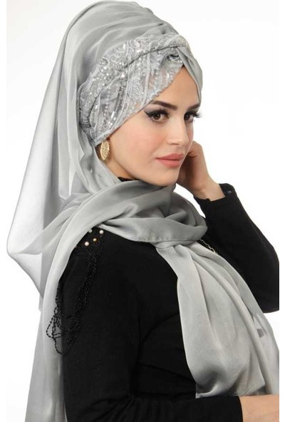 Aişe Tesettür Işıltılı Gümüş Abiye Şal Modelleri