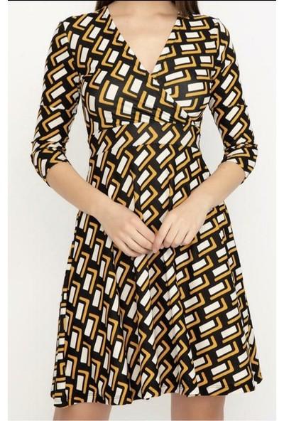 Mercan Geometrik Desenli Elbise